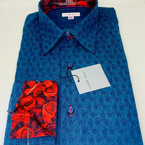 Coton Doux Mens 'Deep Blue w/Rose Surprise'