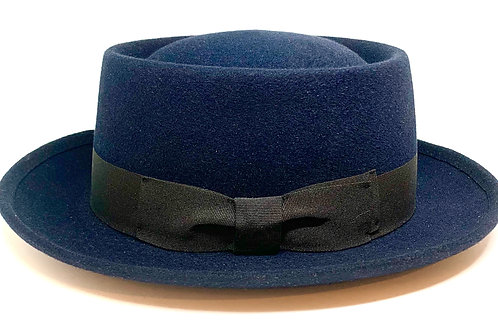 Daquino Hat Pork Pie Navy w/Black