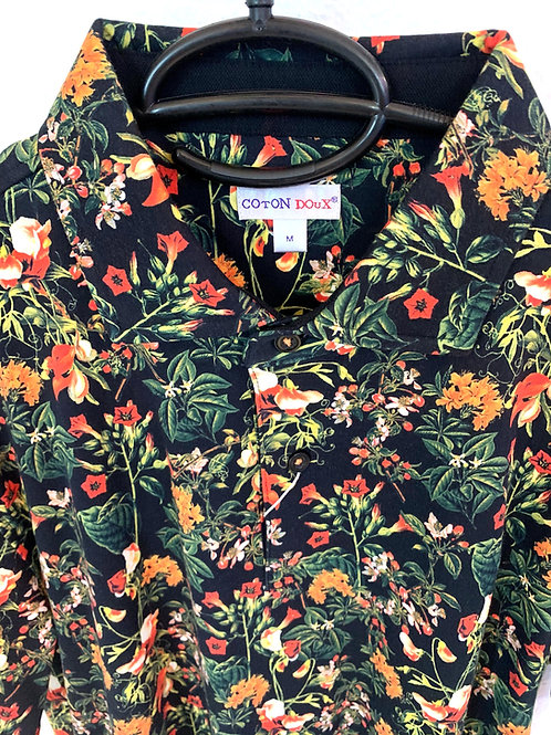 Coton Doux Mens Polo 'Night Flowers'