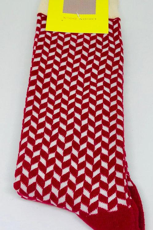 Coton Doux Socks 'Red Geo'