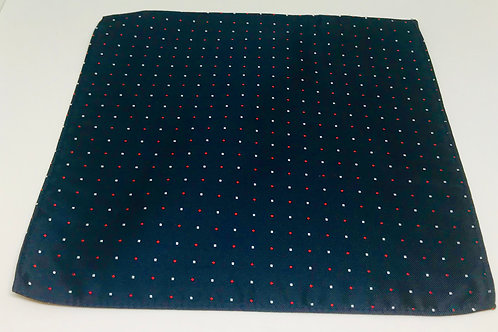 Pocket Square DeepBlue Red Dots