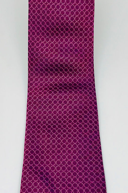 Mens Tie Straight Silver Circles on Red