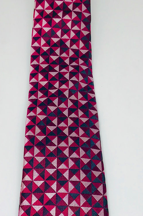 Mens Tie Straight Triangle Red Black Silver