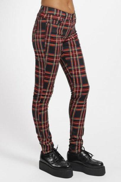 TrippNYC Womens Pants Tartan Black