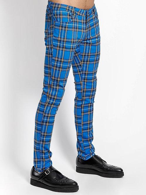 TrippNYC Mens Blue Tartan Jean