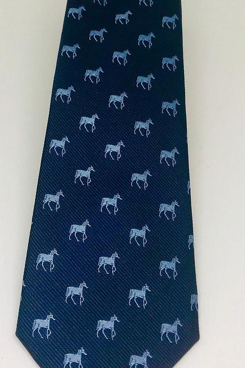Coton Doux Tie Straight 'Horses on Blue'