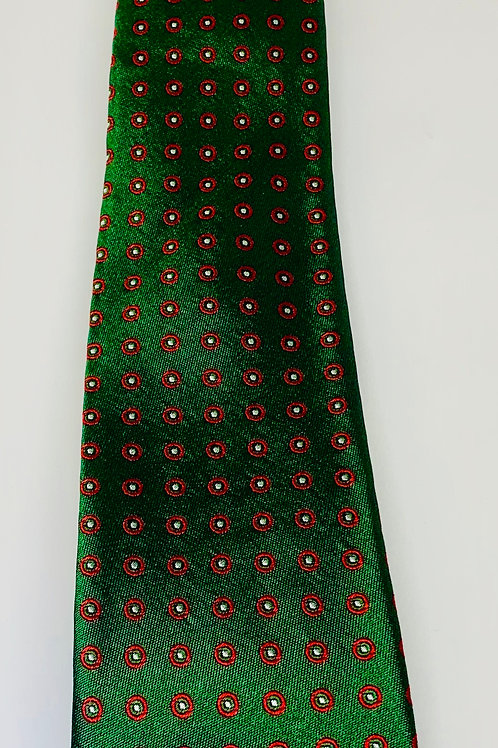Coton Doux Mens Tie 'Silky Green Red Circle'