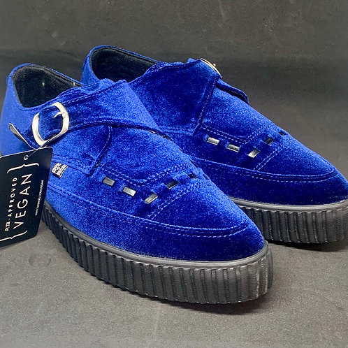 Tuk A9597 Creepers Pointed Buckle Velvet Blue
