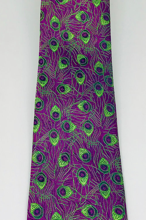 Mens Tie Straight Green Peacock Feathers on Purple