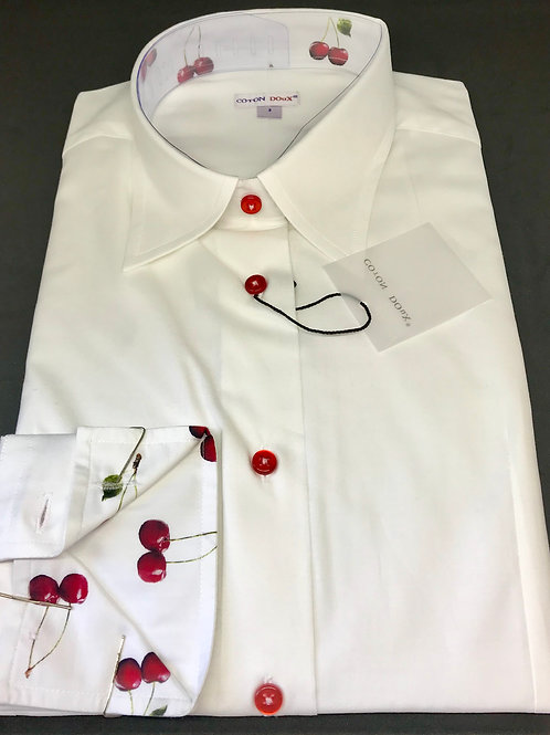 Coton Doux Womens 'White w/RedButtons and Cherry Surprise'