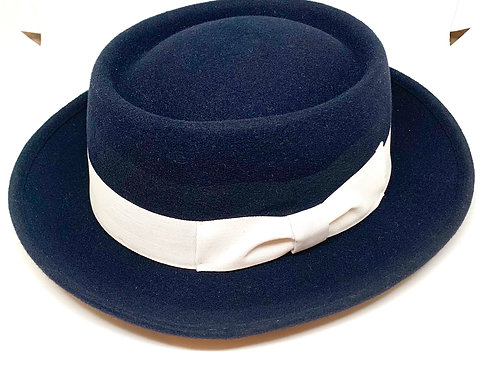 Daquino Hats Pork Pie Navy/wWhite