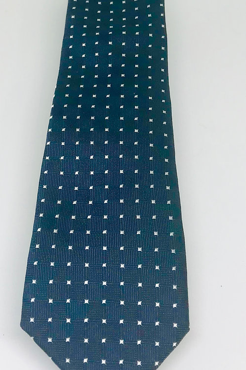 Coton Doux Tie Straight 'Squares on Blue/Green'