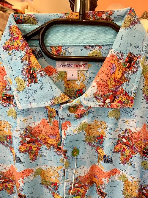Coton Doux Mens Polo 'Maps'