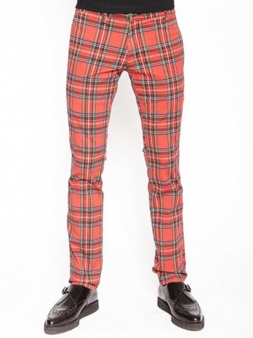 TrippNYC Mens Red Tartan Topcat Jean