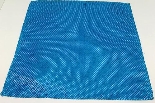 Pocket Square Shiny Blue w White Circles