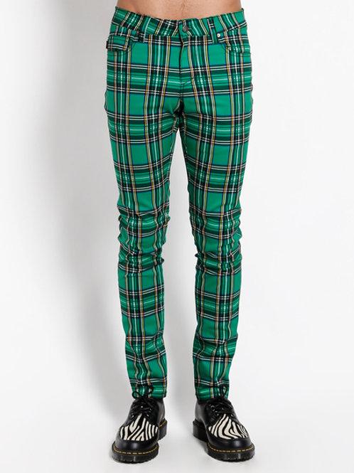 TrippNYC Mens Jeans Green Tartan Skinny