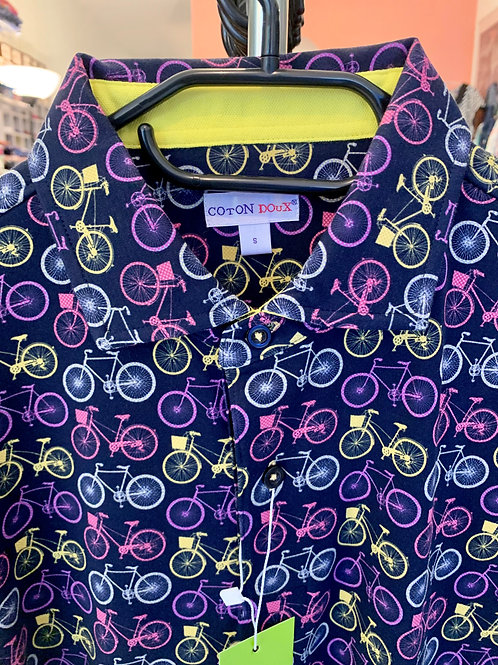 Coton Doux Mens Polo 'Pastel Bikes'