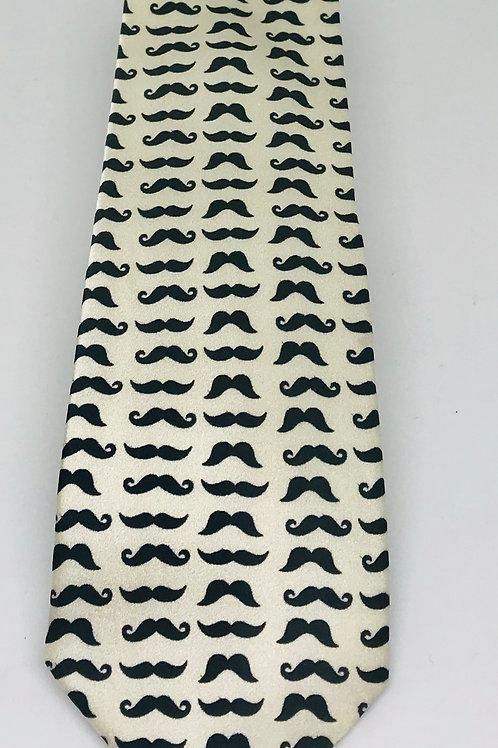 Coton Doux Tie Straight 'Mustaches on White'