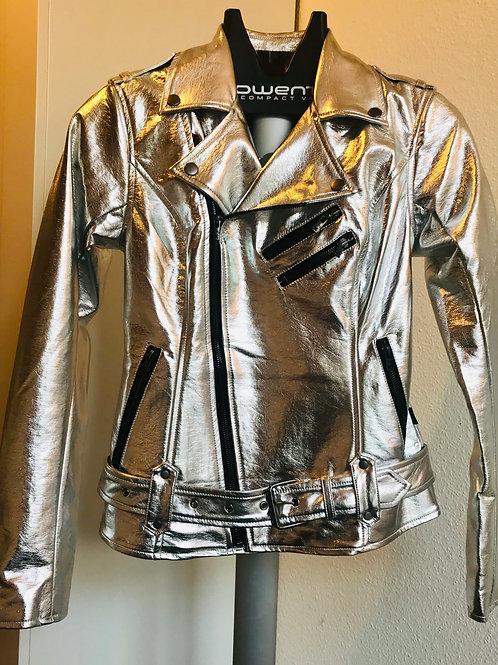 TrippNYC Motorcycle Jacket Women Silver