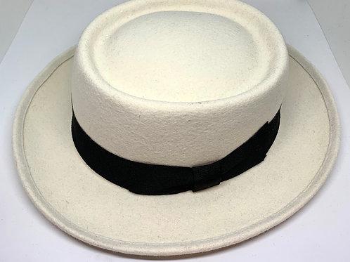 Daquino Hats Pork Pie White/wBlack