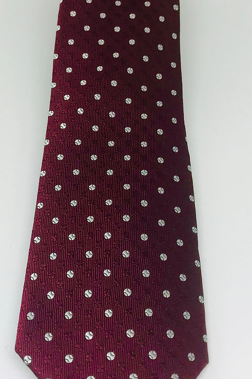 Coton Doux Tie Straight 'White Dots on Burgundy'