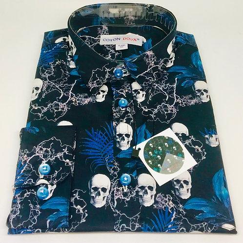 Coton Doux Kids Shirt 'Skulls on Black'