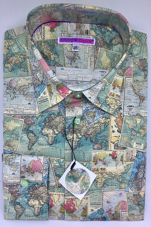 Coton Doux Mens Fitted 'Old Maps'