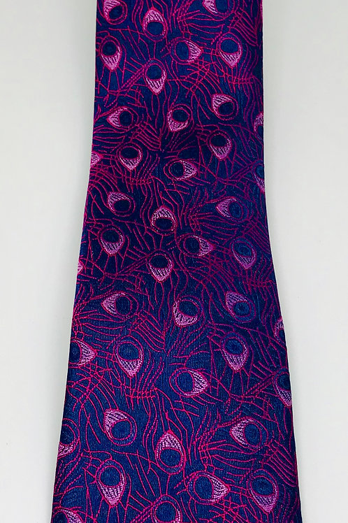 Mens Tie Straight Peacock Feathers Red on Blue