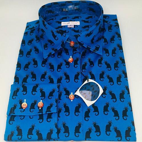 Coton Doux Womens 'Black Cat on Blue'