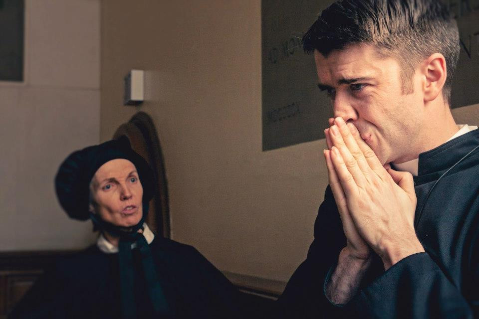 """Anne Shepherd and Jordan Gray in Bygone Theatre's """"Doubt: A Parable"""". Photo by Danielle Son."""