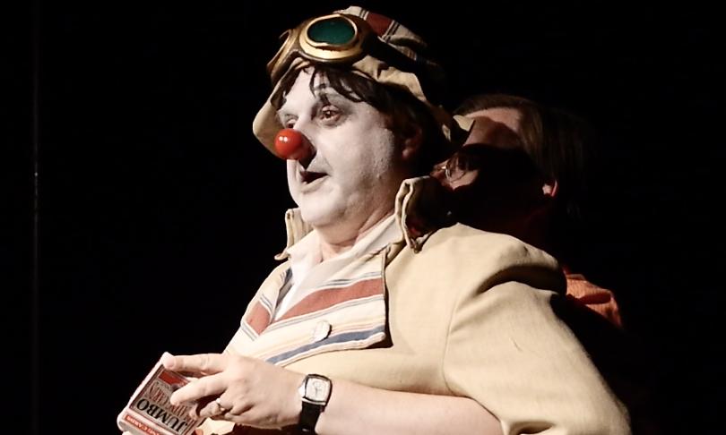 Sketchy the Clown in Bygone Theatre's Vaudeville Revue.
