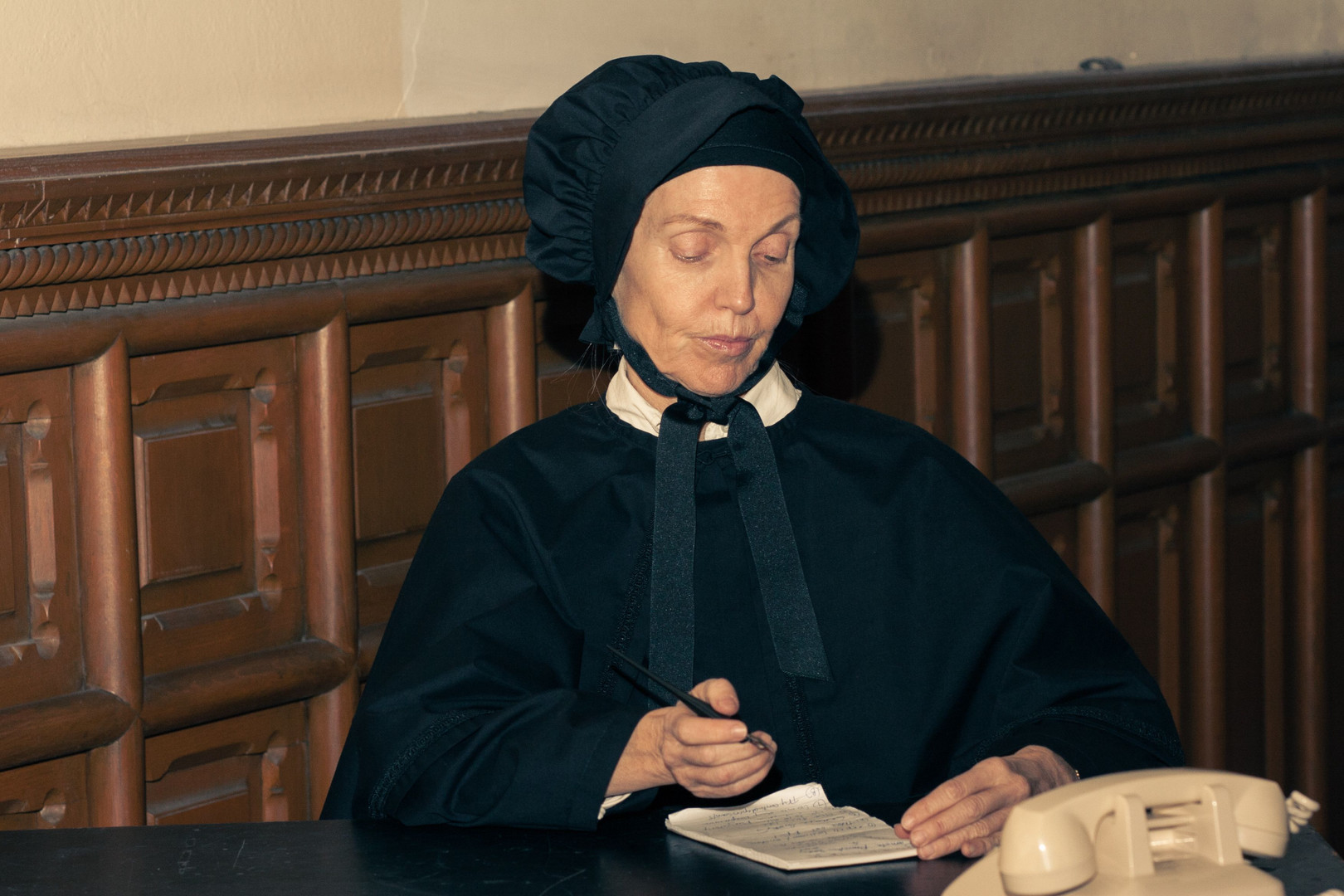"""Anne Shepherd in Bygone Theatre's """"Doubt: A Parable"""". Photo by Danielle Son."""