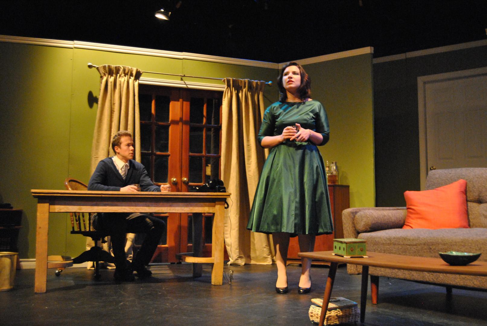 "Kenton Blythe and Rebekah Manella in Bygone Theatre's ""Dial M For Murder""."