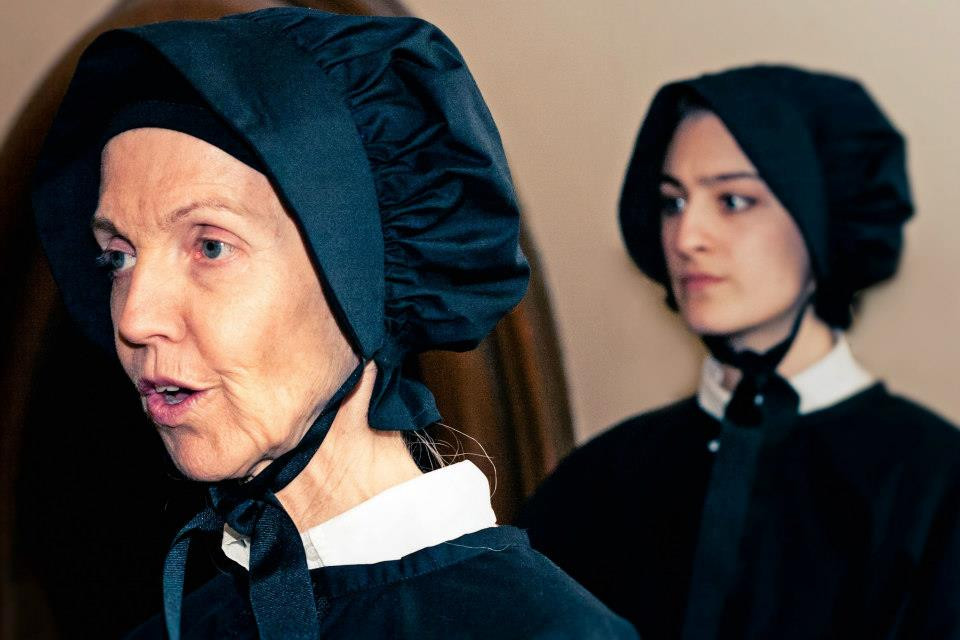 """Anne Shepherd and Maja Rakocevic in Bygone Theatre's """"Doubt: A Parable"""". Photo by Danielle Son."""