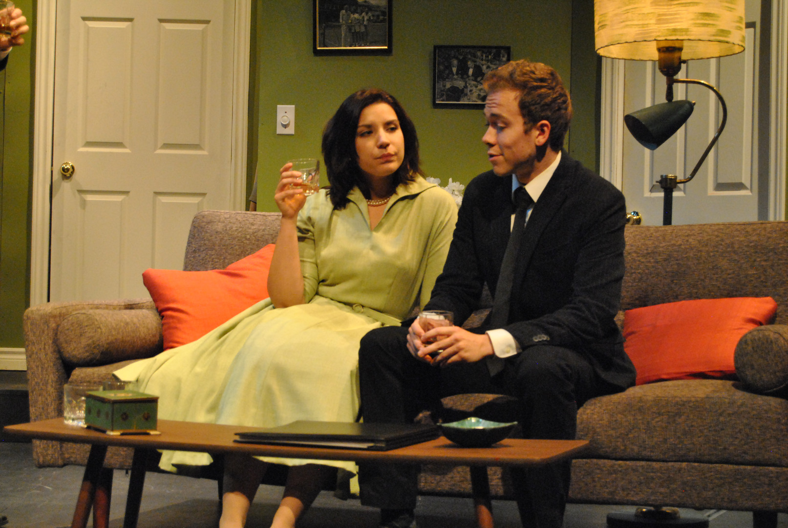 "Rebekah Manella and Kenton Blythe in Bygone Theatre's ""Dial M For Murder""."