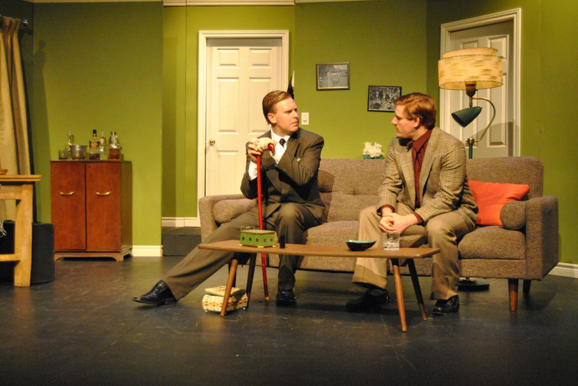 """Leete Stetson and Jason Manella in Bygone Theatre's """"Dial M For Murder""""."""
