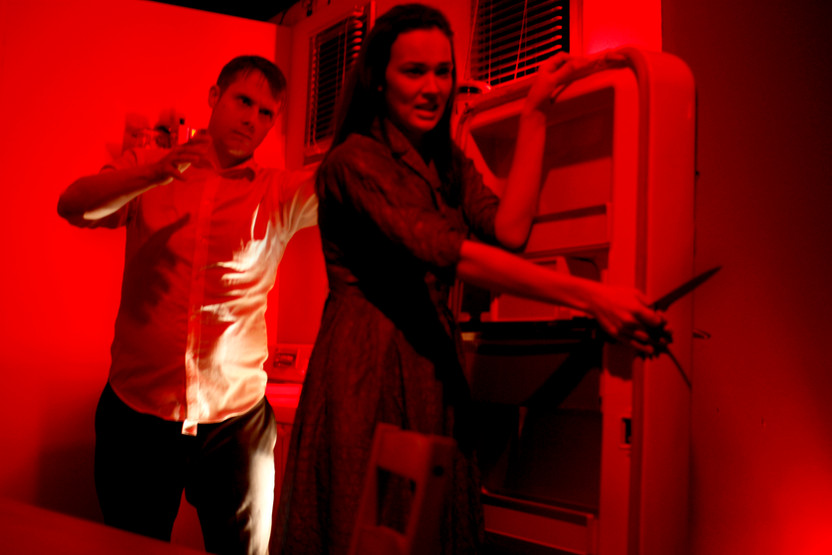 """Eric Miinch and Shannon Lahaie in Bygone Theatre's """"Wait Until Dark"""". Photo by Emily Dix."""