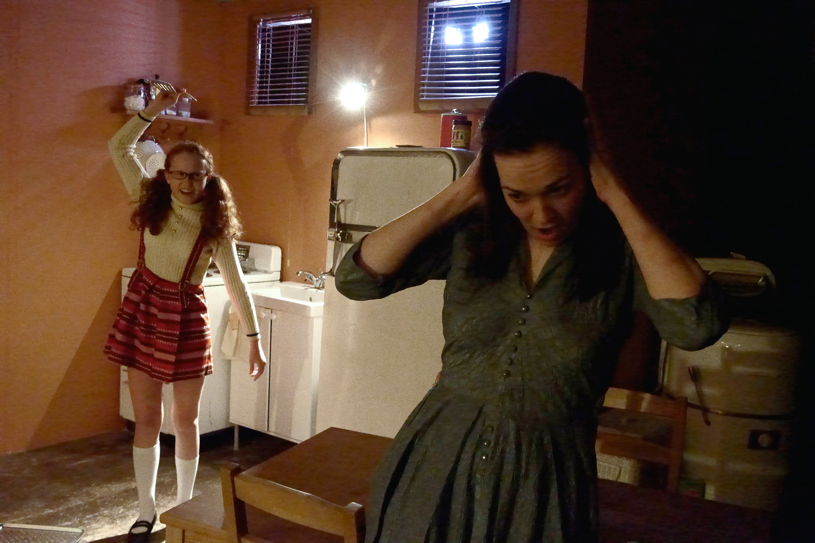 """Abby Strachan and Shannon Lahaie in Bygone Theatre's """"Wait Until Dark"""". Photo by Emily Dix."""