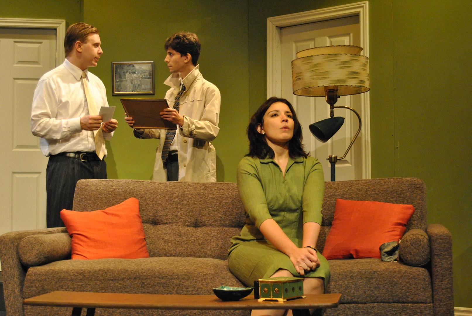 "Leete Stetson, Reg Matson and Rebekah Manella in Bygone Theatre's ""Dial M For Murder""."