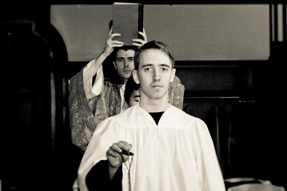 """Jordan Gray and Tom Beattie in Bygone Theatre's """"Doubt: A Parable"""". Photo by Danielle Son."""