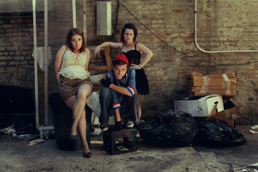 "Felicity Adams-Hannigan as Kourtney, Robert Iannuzziello as Mooky and Heather Motut as Teresa in ""Kill Sister, Kill! A Musical"". Photo by Amy George."