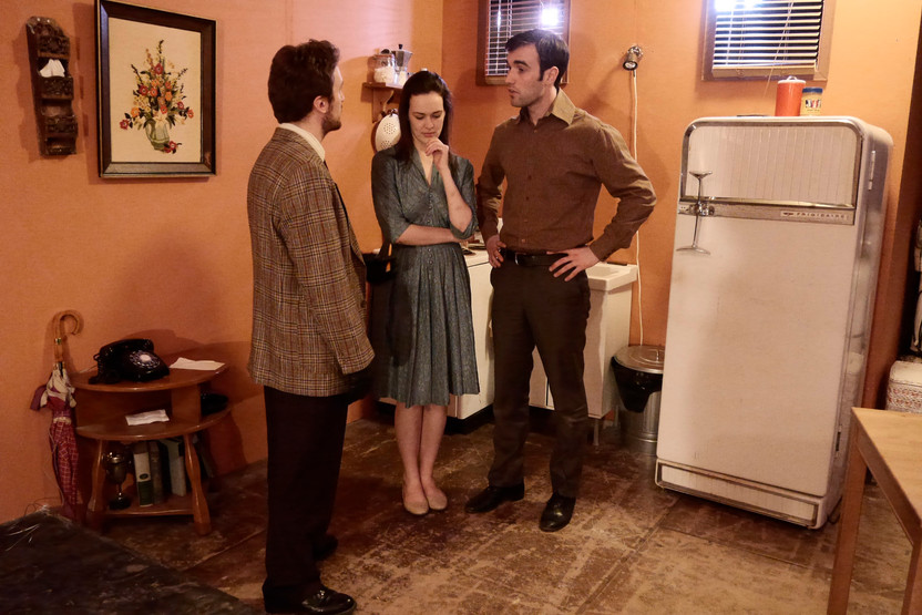 """Dave Walpole, Shannon Lahaie and Mark Nocent in Bygone Theatre's """"Wait Until Dark"""". Photo by Emily Dix."""