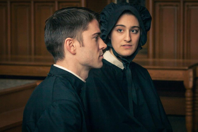 """Jordan Gray and Maja Rakocevic in Bygone Theatre's """"Doubt: A Parable"""". Photo by Danielle Son."""