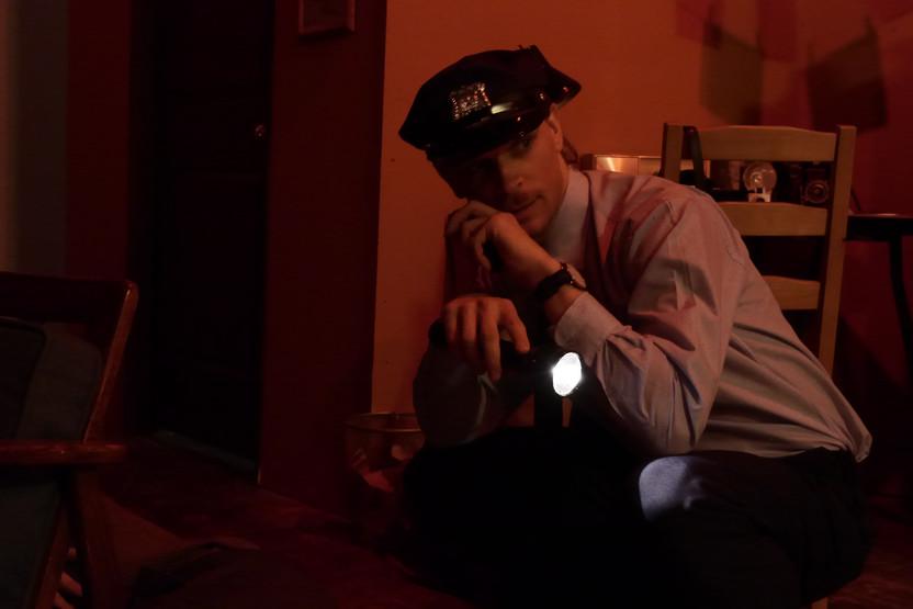 "Ryan Kotack in Bygone Theatre's ""Wait Until Dark"". Photo by Emily Dix."