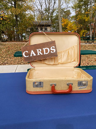 Vintage Suitcase with Card Sign
