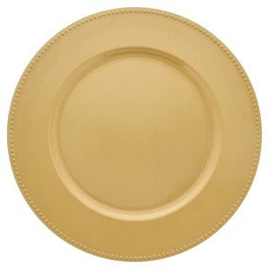 Gold Charger Plate with Beaded Rim