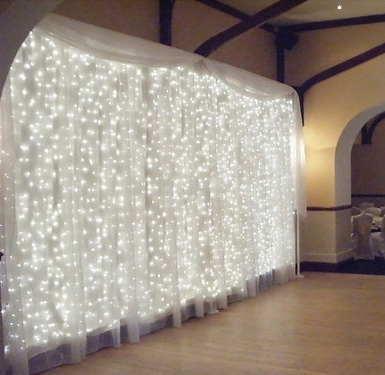 Curtain Backdrop with string lighting