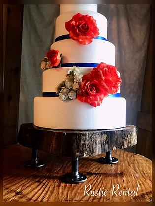 Wood slab cake stand