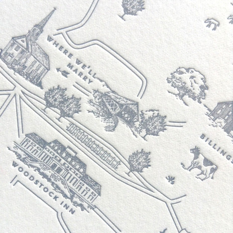 Map of Woodstock, VT Illustration