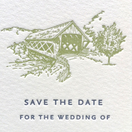 Covered Bridge Save the Date Illustration